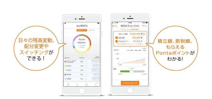 auのiDeCo(イデコ)確定拠出年金アプリなら日々の残高変動や配分変更、スイッチングも可能。積立額や節税額、もらえるPontaポイントが見えるスマートフォンアプリです