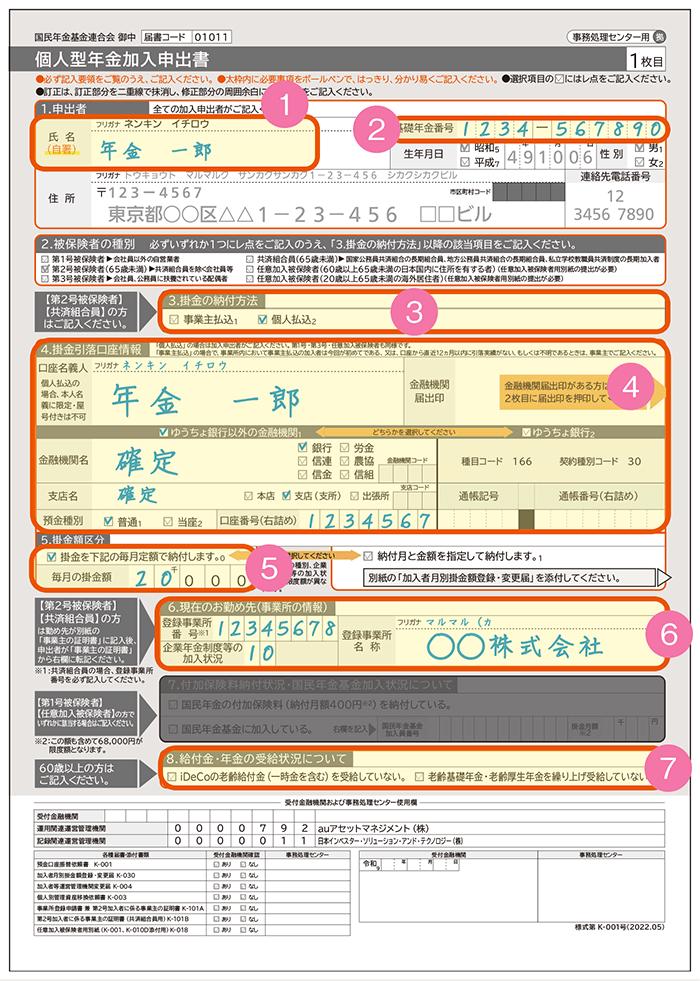auの個人型確定拠出年金「auのiDeCo(イデコ)」で会社員(第2号被保険者)が記入する「個人型年金加入申出書」内の記入方法