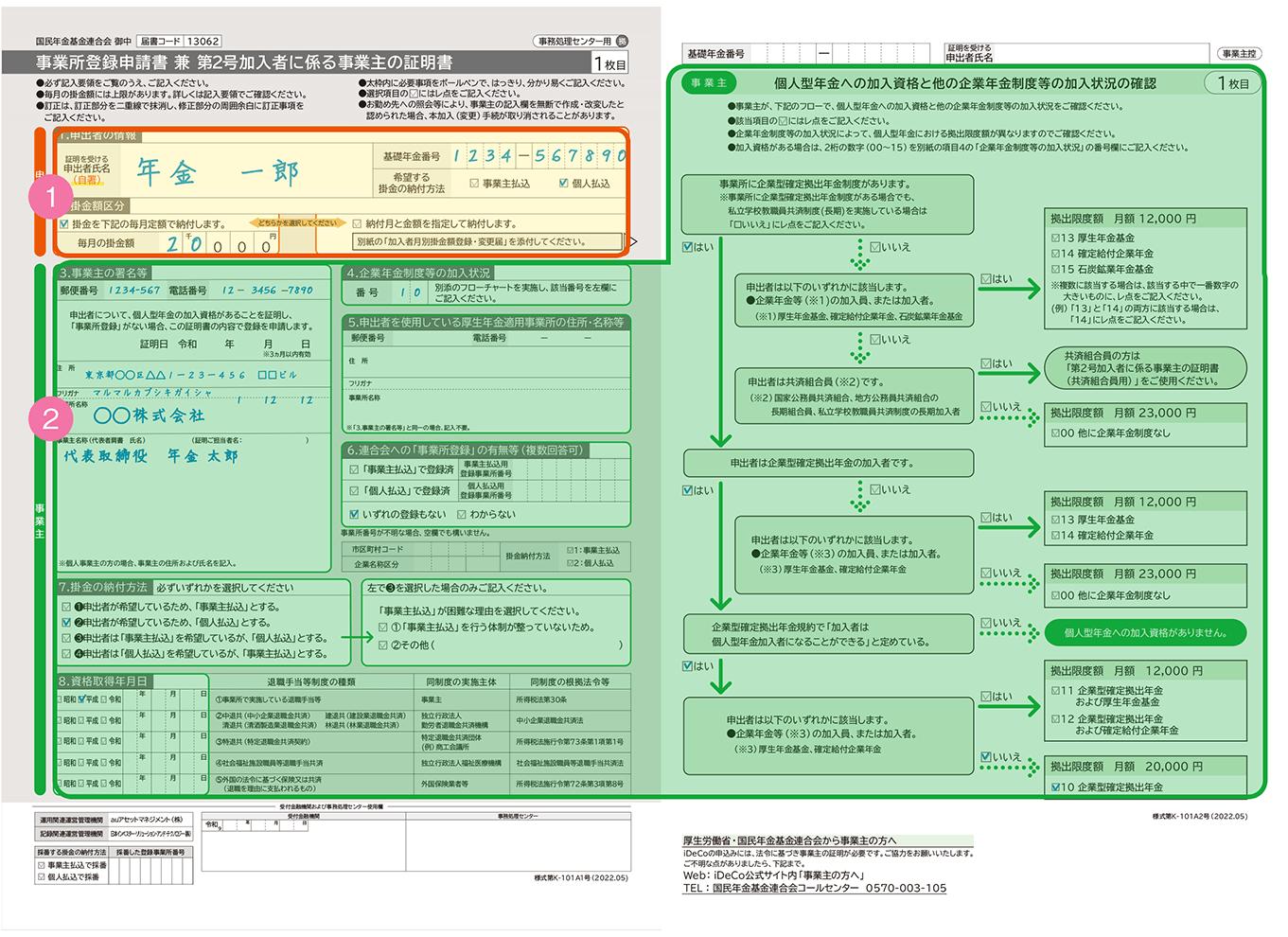 auのスマホ年金「auのiDeCo(イデコ)」個人型確定拠出年金の「事業所登録申請書 兼 第2号加入者に係る事業主の証明書(会社員)」の記入方法
