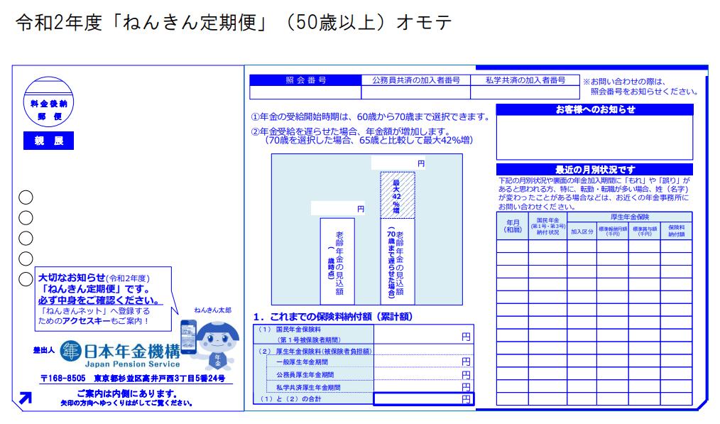 令和2年度「ねんきん定期便」(50歳以上)のサンプル(オモテ)