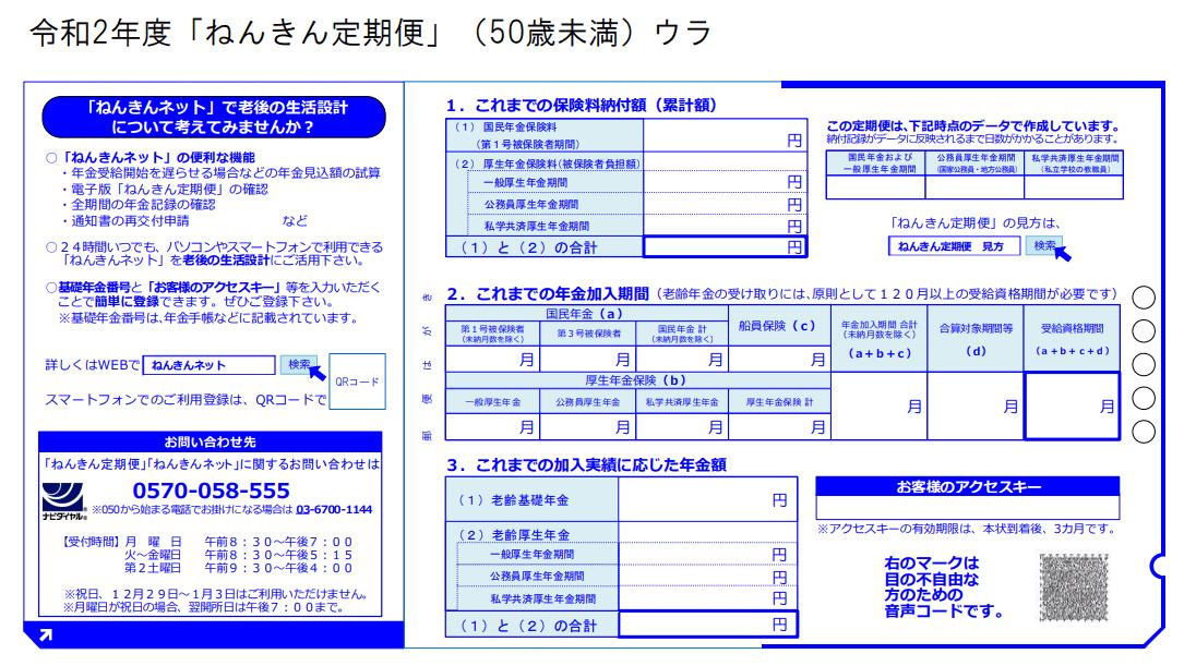 令和2年度「ねんきん定期便」(50歳未満)のサンプル(ウラ)。ここには「これまでの保険料納付額(累計額)」や「お客様のアクセスキー」などが書いてあります。