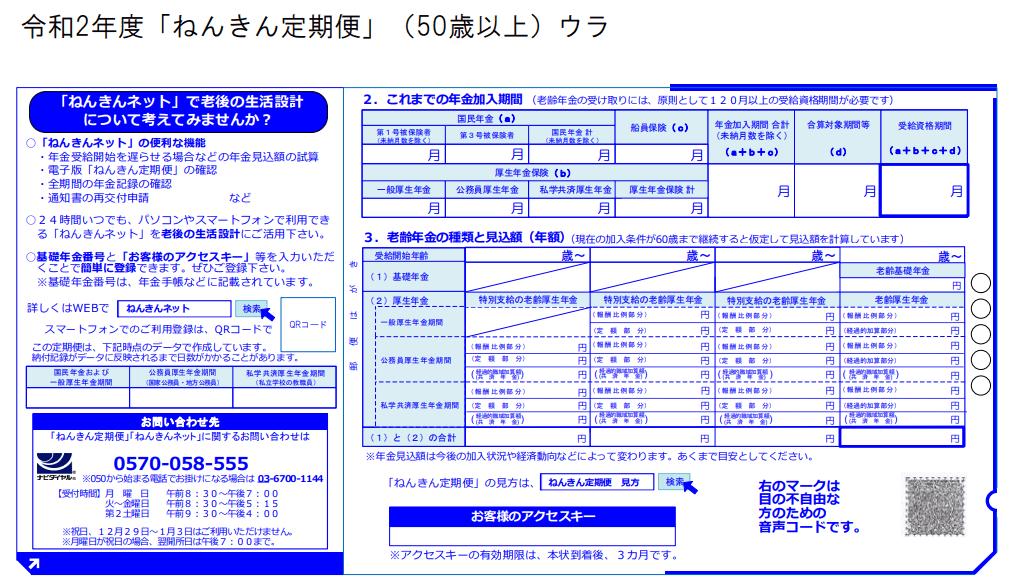 令和2年度「ねんきん定期便」(50歳以上)のサンプル(日本年金機構のホームページより)