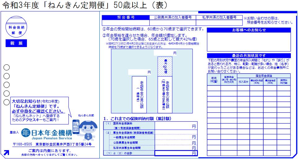 令和3年度「ねんきん定期便」(50歳以上)のサンプル(オモテ)